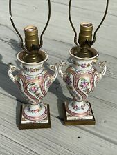 Pair French Sevres Porcelain Floral Hand Painted Vases as Lamps