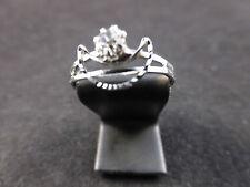 Silver Toned & Rhinestone Crystal Adjustable Crescent/Moon Design Fashion Ring