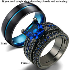 Couple Wedding Ring Blue Sapphire Womens Ring Set&Titanium Steel Mens Bands Gift