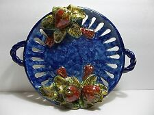 "Vintage Mexican MAJOLICA Palissy Tray CHARGER STRAWBERRIES 13.5"" Cobalt Blue"