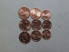 1+2+5  cent Münzen aus Finnland + Griechenland + Luxemburg