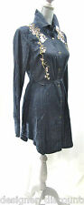 COMO NO Womens Tab Long Sleeve mini Dress Tunic Top Blue Silver embroidery SZ M