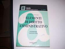 LIBRO ELEMENTI DI DIRITTO AMMINISTRATIVO IX EDIZIONE EDITORE SIMONE 1996 NR 217