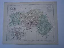 Carte 19° 1852  couleur atlas Malte brun Département de l'Orne Plan d'Alençon