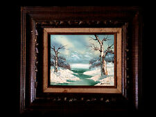VINTAGE SIGNED WINTER LANDSCAPE STREAM OIL ON MASONITE PAINTING BARRISTER 17X15