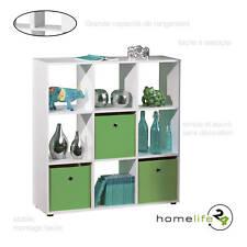 Séparateur rangement étagère 9 compartiments bois blanc design décoration