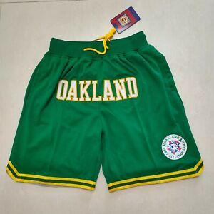 Hot 1987 All-Star Oakland Green  Men's with Pockets Baseball Shorts Size: S-XXL