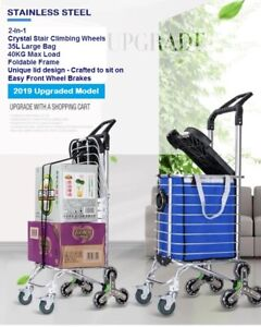New 2020 Foldable Stainless Steel Shopping Trolley Cart Grocery Luggage Basket