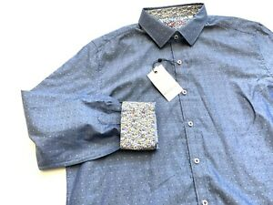 Robert Graham Men's Norville Blue Long Sleeve Shirt XL NWT
