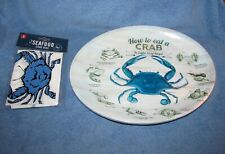 New listing How To Eat a Crab Melamine Serving Oval Plates Set of 4 New Dishes & 4 Bibs