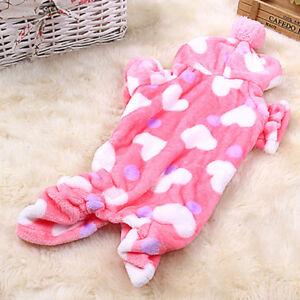 Cute Pet Dog Jumpsuit Pajamas Clothes Warm Fleece Leopard Heart Puppy Cat Hoodie