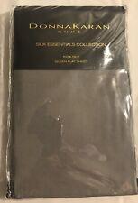 Donna Karan Silk Essentials Collection 100% Silk Queen Flat Sheet Grey