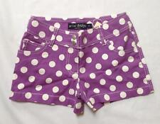 NWT Mini Boden girl medium purple heart pocket spotty polka dot shorts 9y 9 year