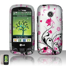 For LG Cosmos Touch VN270 Protector Hard Case Snap on Phone Cover Pink Vines