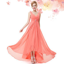 Ever-Pretty Long Chiffon V Neck Evening Formal Party Bridesmaid Dress 09983 Coral 14