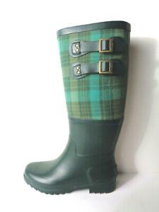 UGG AUSTRALIA 3457 Women's US 6M Sabene Green Plaid Rubber Boots