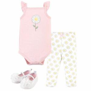 Hudson Baby Cotton Bodysuit, Pant and Shoe Set, Pink Daisy