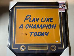 Lou Holtz autograph signed Norte Dame Play Like Champion 16x20 photo framed JSA