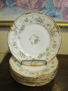 T, Haviland Limoges France Schleiger Set Of 6 Salad Plate Wreath Of Roses Gold