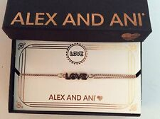 Alex and Ani Love Pull Chain Bracelet Rose Gold New Tag Box Card 2019