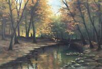 Waldinneres im Herbst 1928 signiert Ölgemälde 42 x 61 cm