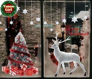 Girl Large Reusable Merry Xmas Tree Reindeer Wall Window Stickers Door Cover