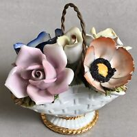 CAPODIMONTE Porcelain Flower Basket Arrangement Roses Bouquet Home Ornament Gift