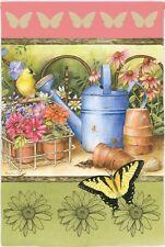 Garden Grow Gardening Flowers Butterflies Gold Finch Water Can Summer Sm Flag