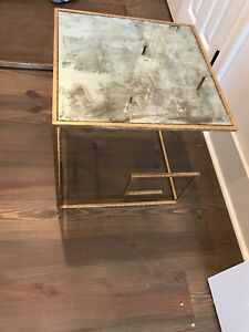 World's Away Antiqued Glass Side Table
