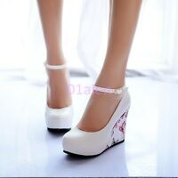 Womens lady High Wedge Heel Floral Faux Leather ANkle Strap Shoe Court Plus Size