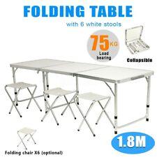 6ft Aluminium Portable Folding Camping Picnic Table Outdoor Garden + 6 Stools Us