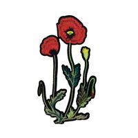 Red Poppy Flower (Iron On) Embroidery Applique Patch Sew Iron Badge