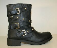 G by Guess Womens Mid Calf Ankle Boots Sz 10 M Black Studded Buckle Belt Harness