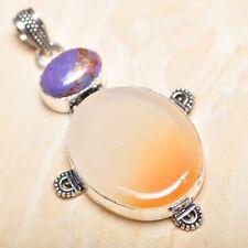 "Handmade Natural Carnelian Jasper 925 Sterling Silver Pendant 2.5"" #P15703"
