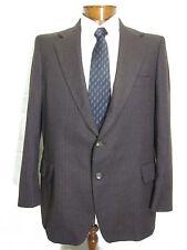 Vtg Mens Curlee Brown Striped 2 Button Sport Coat Blazer Jacket 44R *Free Ship