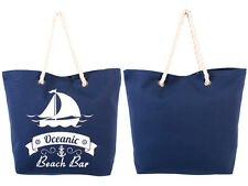 LADIES TOP QUALITY BEACH BAG LIGHT WEIGHT CANVAS NAVY LORENZ ACCESSORIES LARGE