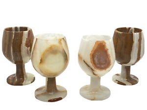 """Onyx Natural Stone Goblets Set of 4 Carved 2.75"""" Tall , Excellent condition"""