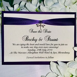 Save the Date - Flat - Purple Ribbon & Silver Dragonfly Charm