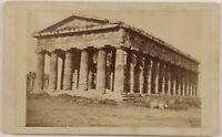 Paestum Tempio Greco Italia Foto CDV PL52L3n Vintage Albumina