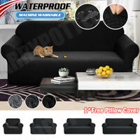 Waterproof 1/2/3/4 Seat Stretch Sofa Couch Cover Elastic Slipcover Protector US