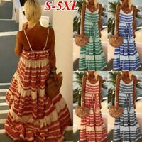 Women's Boho Sexy V-neck Sling Print Dresses Ladies Summer Holiday Beach Dress