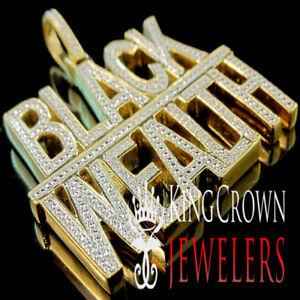 "Real Genuine Diamond ""BLACK WEALTH"" 10K Yellow Gold Finish Pendant Custom Charm"