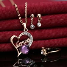 Women Purple Crystal Gold Jewelry Set Heart Love  Pendant Necklace Earrings Ring