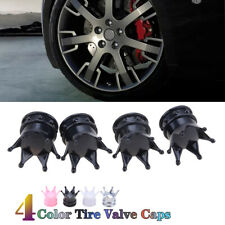 4x Valve Tire Stem Caps Bling Diamond Air Cap Cover For Car Wheel Black Crown