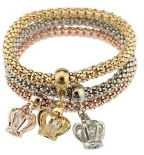 3PCS Gold Silver Love Crown Crystal Cuff Bangle Charm Elastic Bracelet Gift