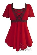 Gothic ANGEL RENAISSANCE Stretch Corset Style Top SCARLET RED Sz 10/12 to 26/28