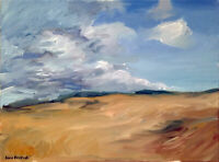 "Cloud Horizon Landscape Impressionist Original Oil Painting Signed 18""x24"""