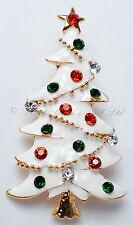 Christmas Xmas White Enamel Sparkling Multicolour Rhinestone Tree