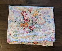 Ralph Lauren ALLISON Pink Purple Blue Floral White Queen Flat Sheet 100% Cotton
