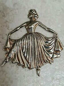 Vintage Art Deco Large Silver Plated Dancer Brooch 'REG DES Number'